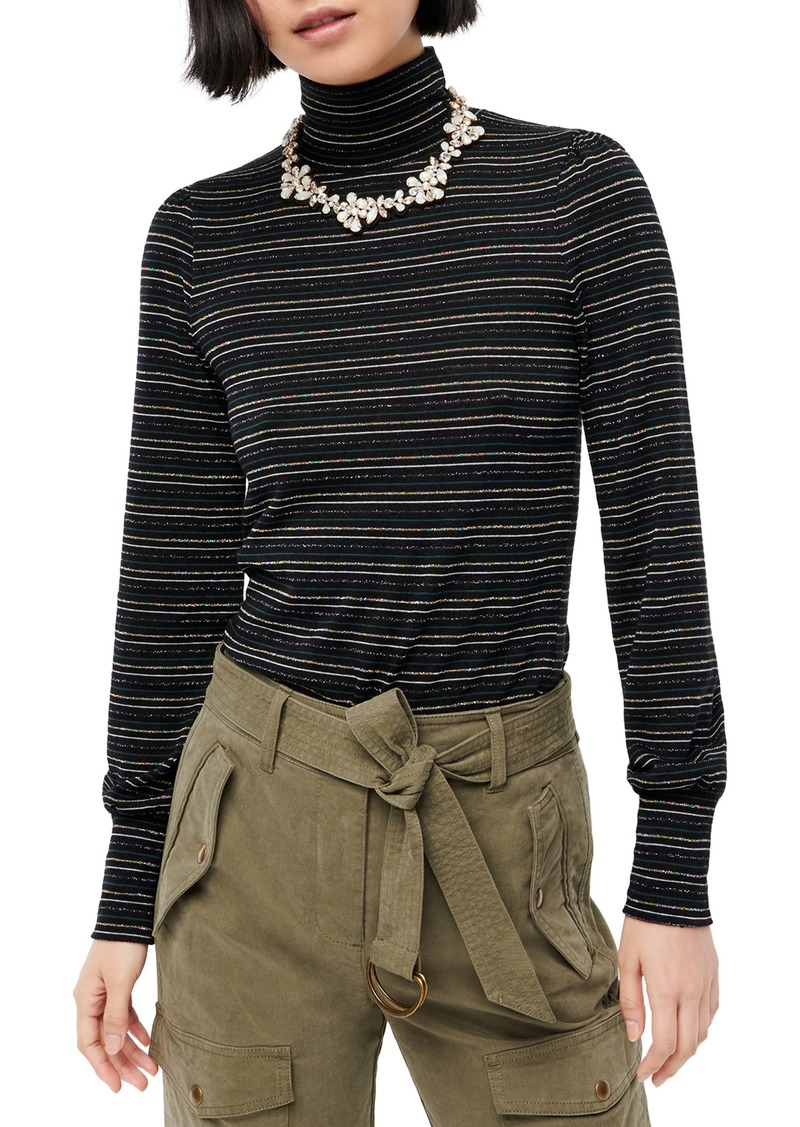 J.Crew Metallic Stripe Supercozy Turtleneck Pullover