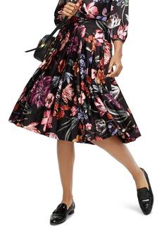 J.Crew Midnight Dutch Floral Pleated A-Line Midi Skirt