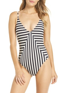J.Crew Mixed Stripe Paneled One-Piece Swimsuit