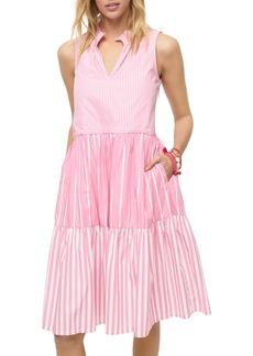 J.Crew Mixed Stripe Sleeveless Tiered Popover Dress