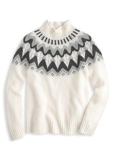 J.Crew Mock Neck Fair Isle Cashmere Sweater