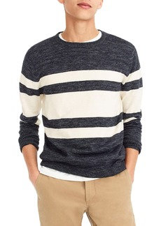 J.Crew Multistripe Cotton & Linen Blend Crewneck Sweater