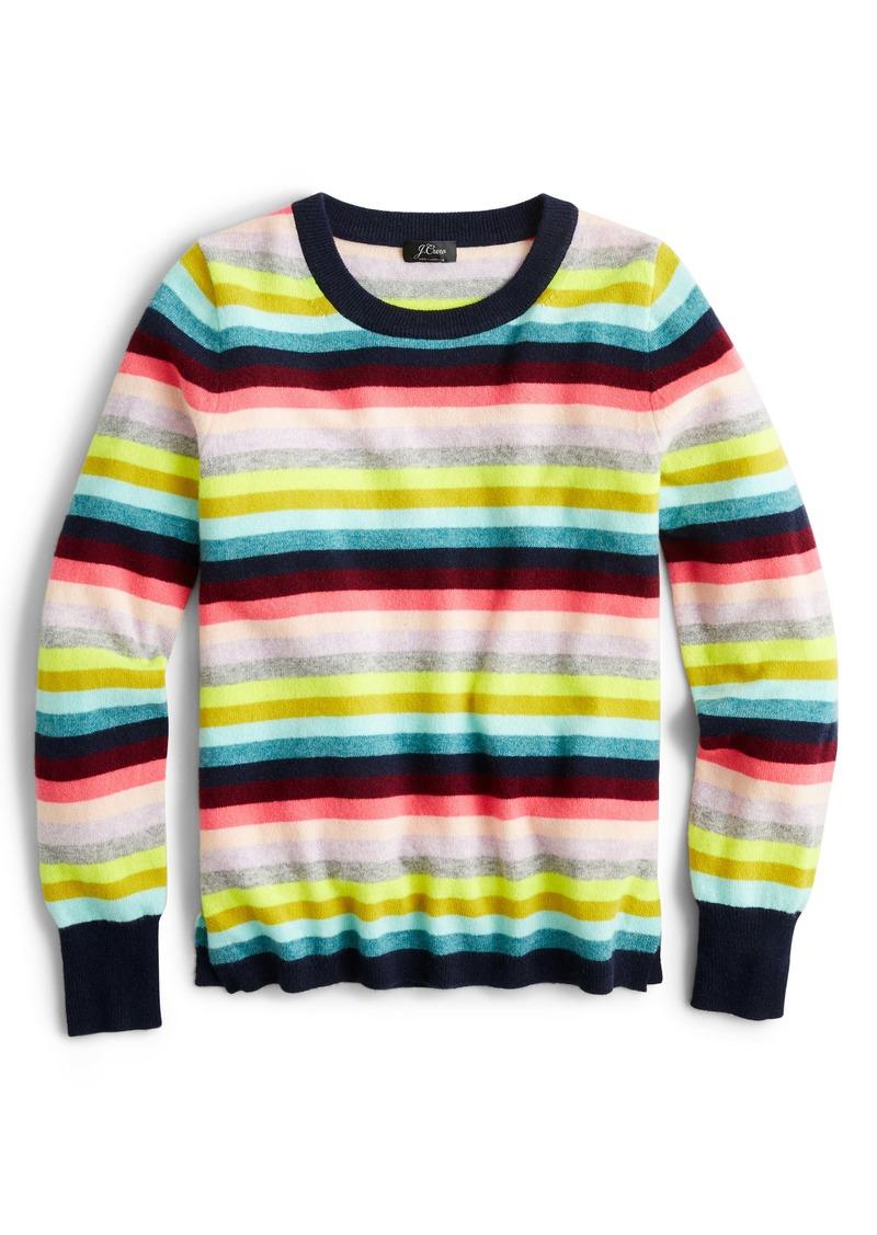 J.Crew Multistripe Long Sleeve Everyday Cashmere Crewneck Sweater