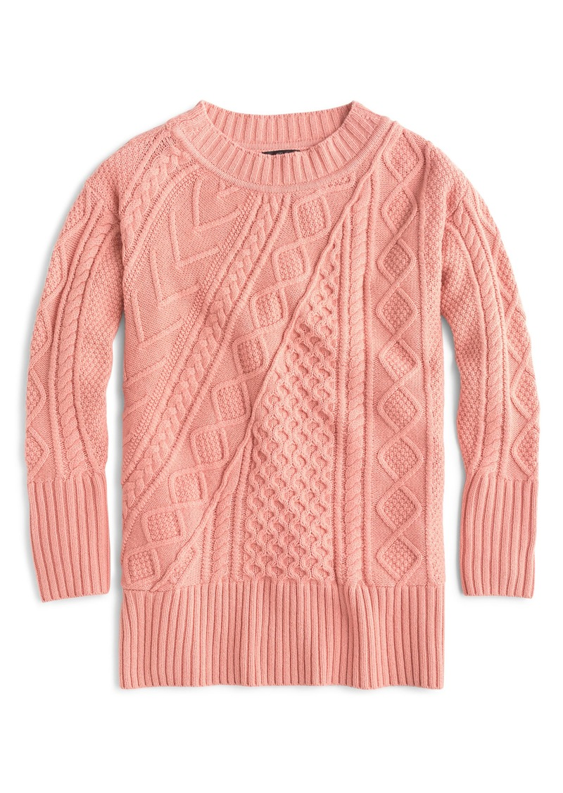76c087d9f1b890 J.Crew J.Crew Patchwork Cable Knit Oversize Tunic Sweater Now $64.00