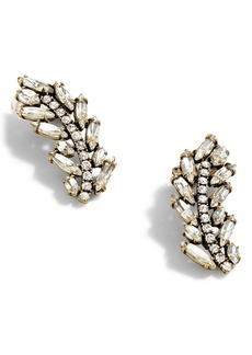 J.Crew Pavé Feather Climber Earrings