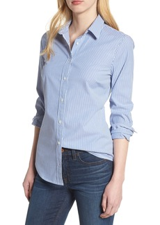J.Crew Perfect Classic Stripe Stretch Cotton Shirt (Regular & Petite)