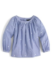 J.Crew Perfect Embroidered Chambray Top (Regular & Petite)