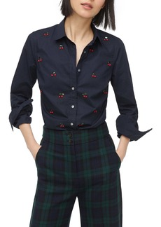 J.Crew Perfect Shirt with Embellished Cherries