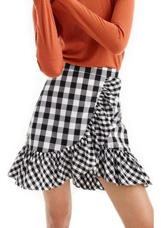 J.Crew Pistachio Gingham Cotton Poplin Ruffle Skirt (Regular & Petite)
