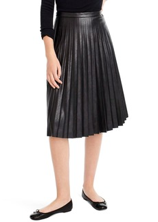 J.Crew Pleat Faux Leather Midi Skirt