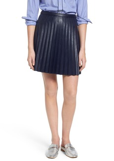 J.Crew Pleat Faux Leather Miniskirt (Regular & Petite)