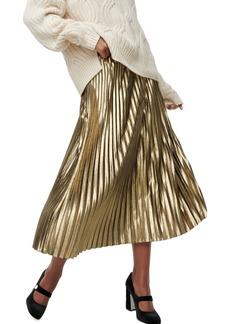 J.Crew Pleated Chiffon Lamé Midi Skirt
