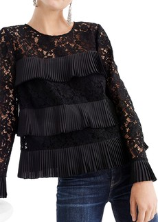 J.Crew Pleated Lace Top (Regular & Petite)