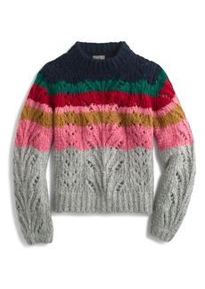 J.Crew Point Sur Colorblock Pointelle Crewneck Sweater