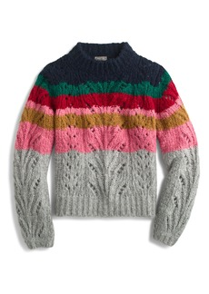 J.Crew Point Sur Colorblock Pointelle Crewneck Sweater