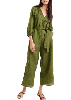 J.Crew Point Sur Faux Wrap Linen Jumpsuit (Regular & Petite)