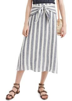 J.Crew Point Sur Nautical Stripe Tie-Waist Linen Skirt