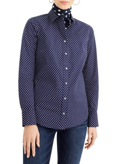 J.Crew Polka Dot Slim Stretch Perfect Shirt (Regular & Petite)