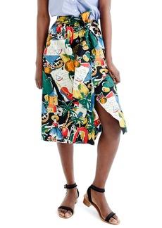 J.Crew Postcard Print Button-Up A-Line Skirt