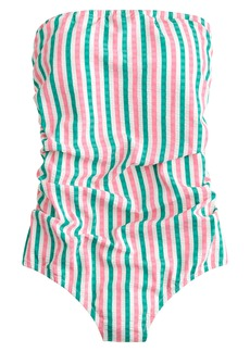 ca6f0c5fb8ada J.Crew Puckered Stripe Ruched Bandeau One-Piece Swimsuit