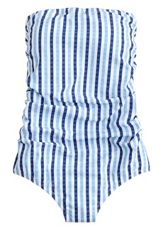 J.Crew Puckered Stripe Ruched Bandeau One-Piece Swimsuit