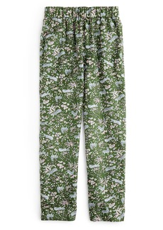 J.Crew Pull-On Print Silk Twill Easy Pants
