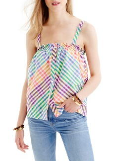 J.Crew Rainbow Gingham Button Front Ruffle Top (Regular & Petite)