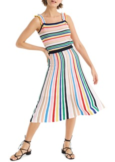 J.Crew Rainbow Stripe Pull-On Flare Skirt