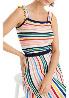 J.Crew Rainbow Stripe Ruffle Strap Tank Sweater