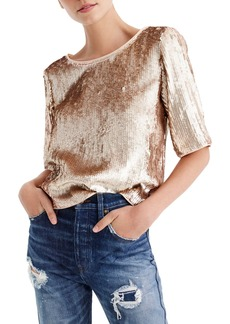 J.Crew Rose Gold Sequin Crop Top