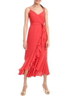 J.Crew Ruffle Faux Wrap Midi Dress
