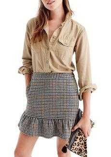 J.Crew Ruffle Houndstooth Miniskirt