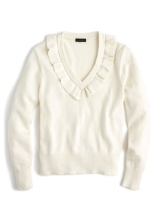 J.Crew Ruffle V-Neck Sweater