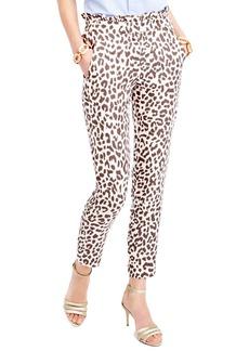 J.Crew Ruffle Waist Leopard Print Linen Pants (Regular & Petite)