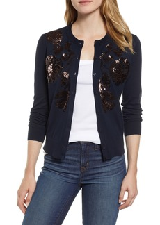 J.Crew Sequin Floral Embroidered Jackie Cardigan