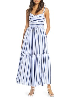 J.Crew Shirting Stripe Tiered Maxi Dress