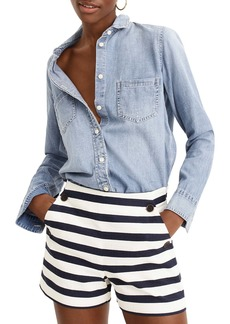 J.Crew Side Button Stretch Grasscloth Sailor Shorts
