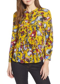 J.Crew Silk Pleated Popover in Floral Print