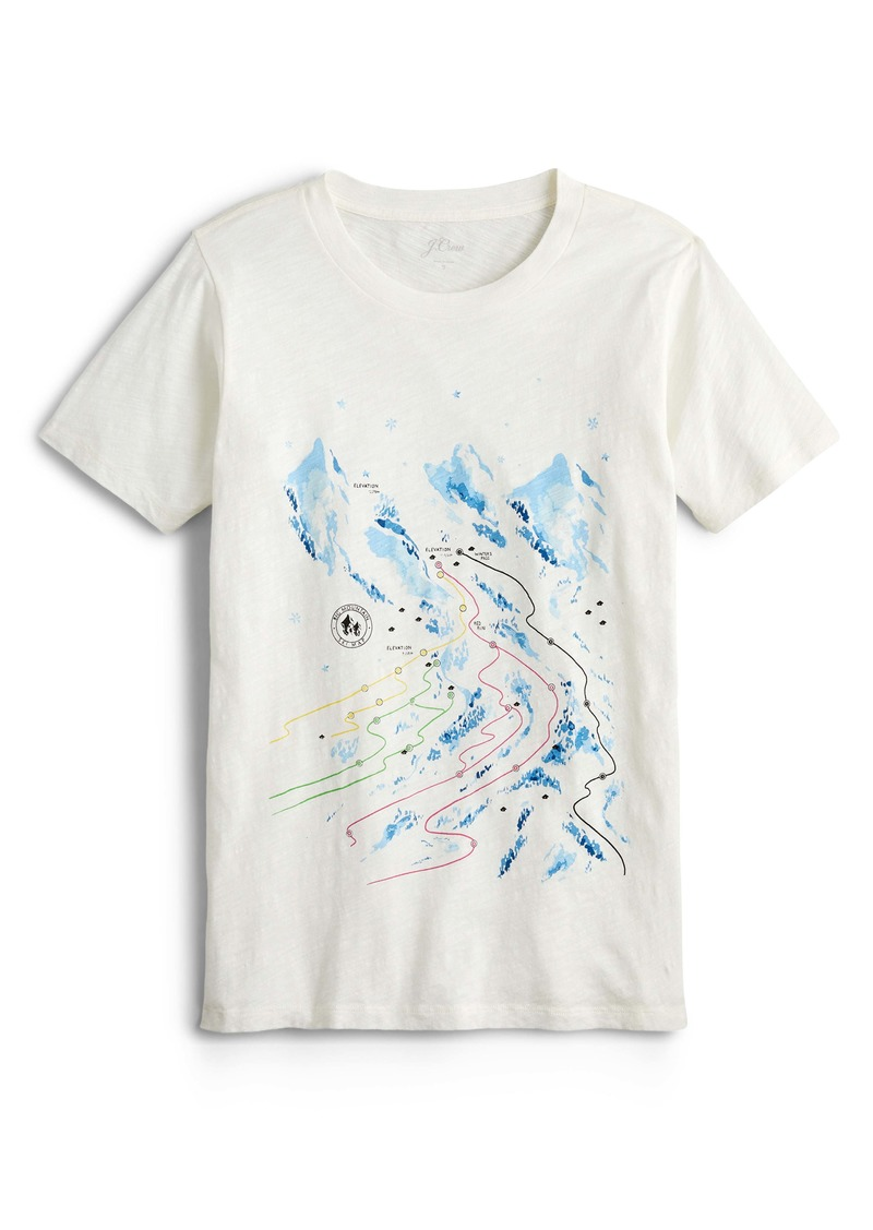 J.Crew Ski Map Vintage Cotton Graphic Tee