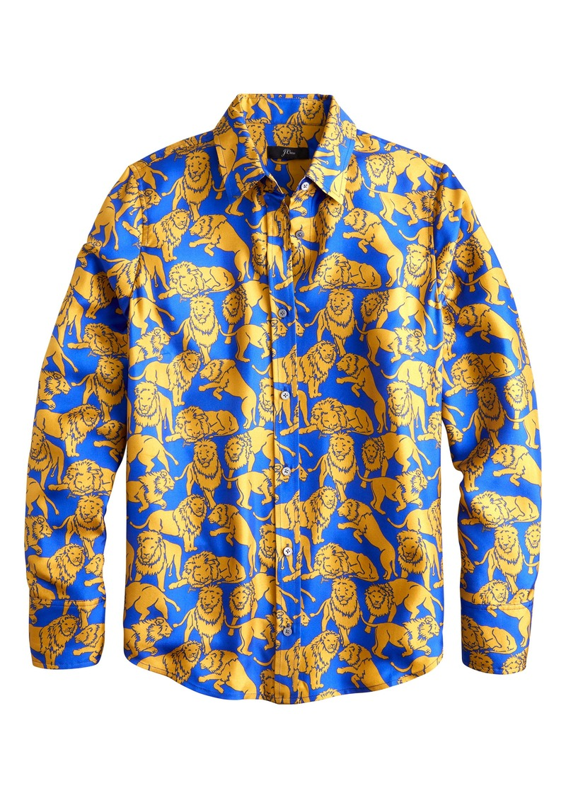 J.Crew Sleepy Lions Silk Twill Button-Up Shirt