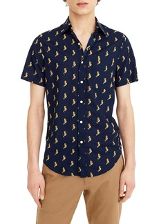 J.Crew Slim Fit Secret Wash Short Sleeve Seahorse Print Sport Shirt