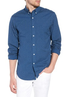 J.Crew Slim Fit Stretch Secret Wash Crosshatch Print Sport Shirt
