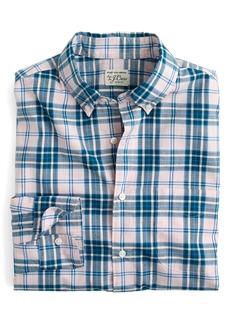 J.Crew Slim Fit Stretch Secret Wash Heather Poplin Plaid Sport Shirt
