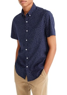 J.Crew Slim Fit Stretch Secret Wash Short Sleeve Daisy Print Sport Shirt