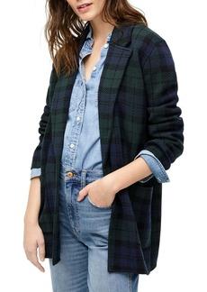 J.Crew Sophie Black Watch Plaid Sweater Blazer