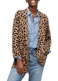 J.Crew Sophie Leopard Print Open Front Sweater Blazer