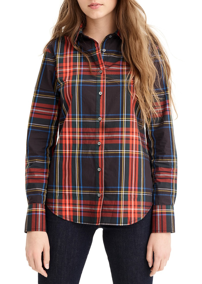 J.Crew Stewart Tartan Perfect Slim Stretch Shirt (Regular & Petite)