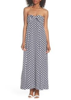 J.Crew Strapless Dot Tie Front Maxi Dress