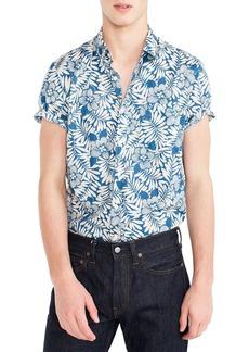 J.Crew Secret Wash Short Sleeve Fern Print Sport Shirt