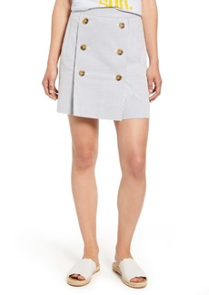 J.Crew Stretch Seersucker Button Front Miniskirt